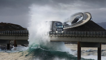 Volvo FH driving over bridge