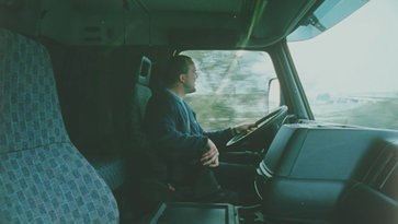 A driver in his Volvo FH