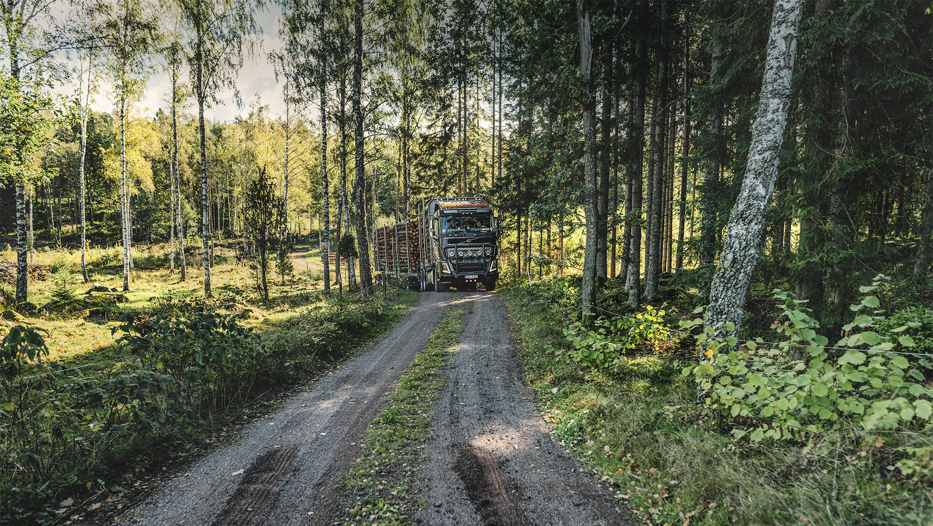 Timber transport in Sweden.