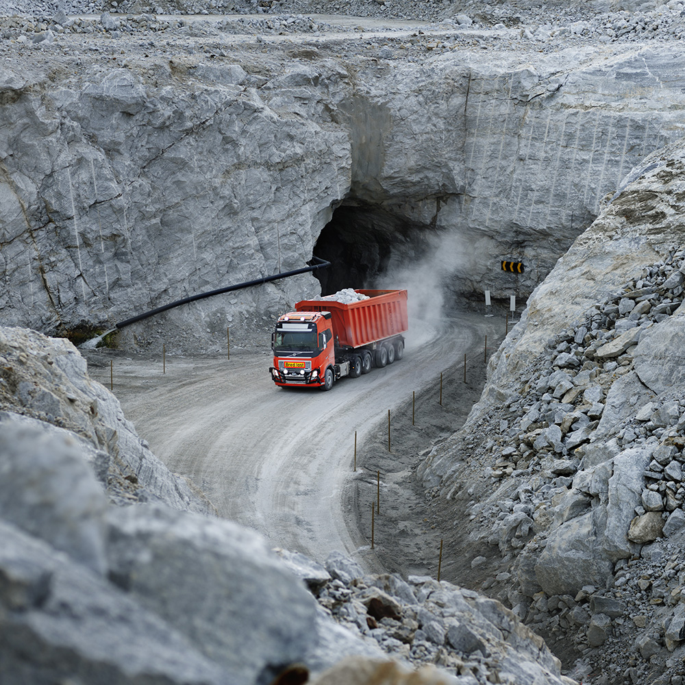 Volvo FH exiting tunnel